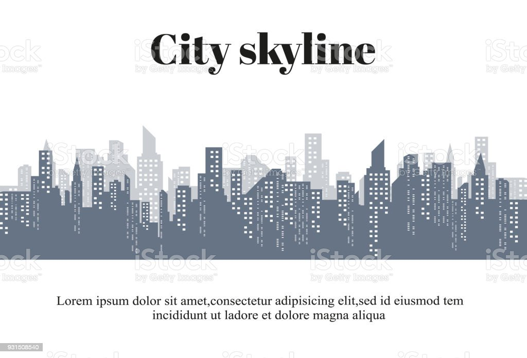 The silhouette of the city in a flat style. Modern urban landscape.vector illustration