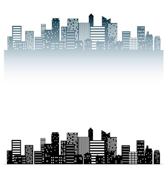 都会のシルエット - 都市 モノクロ点のイラスト素材/クリップアート素材/マンガ素材/アイコン素材