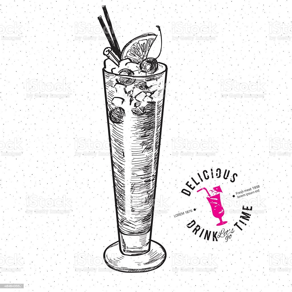 The Singapore Sling cocktail isolated vector art illustration