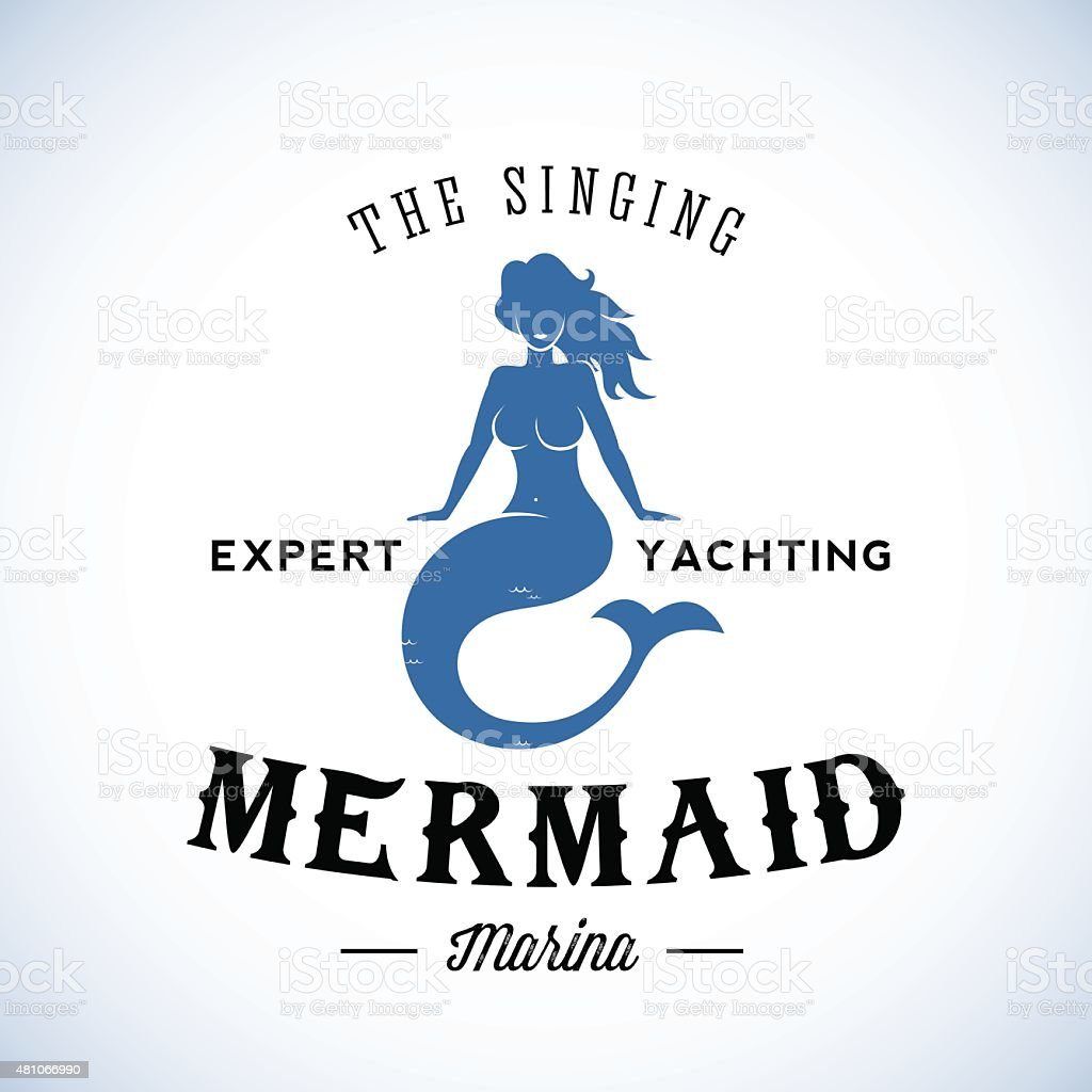 the singing mermaid marina abstract vector retro logo template or
