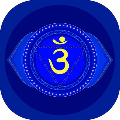 The sixth chakra is Ajna. Third eye chakra with Hindu Sanskrit. Blue is a flat symbol of meditation, yoga. Vector