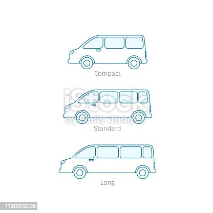 The size of the minivan. Transfer minibus variation. Compact standard long. Transportation of passengers cars. From small to large. Outline contour blue line flat vector.