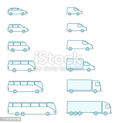 The size of the transport icon set. Compact standard long. Transportation of passengers buses and cargo trucks. From small to large. Outline contour blue line flat vector.
