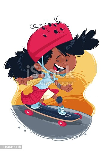 Cartoon style illustration depicting a girl skateboarding with helmet and protections on her knees and ankles.