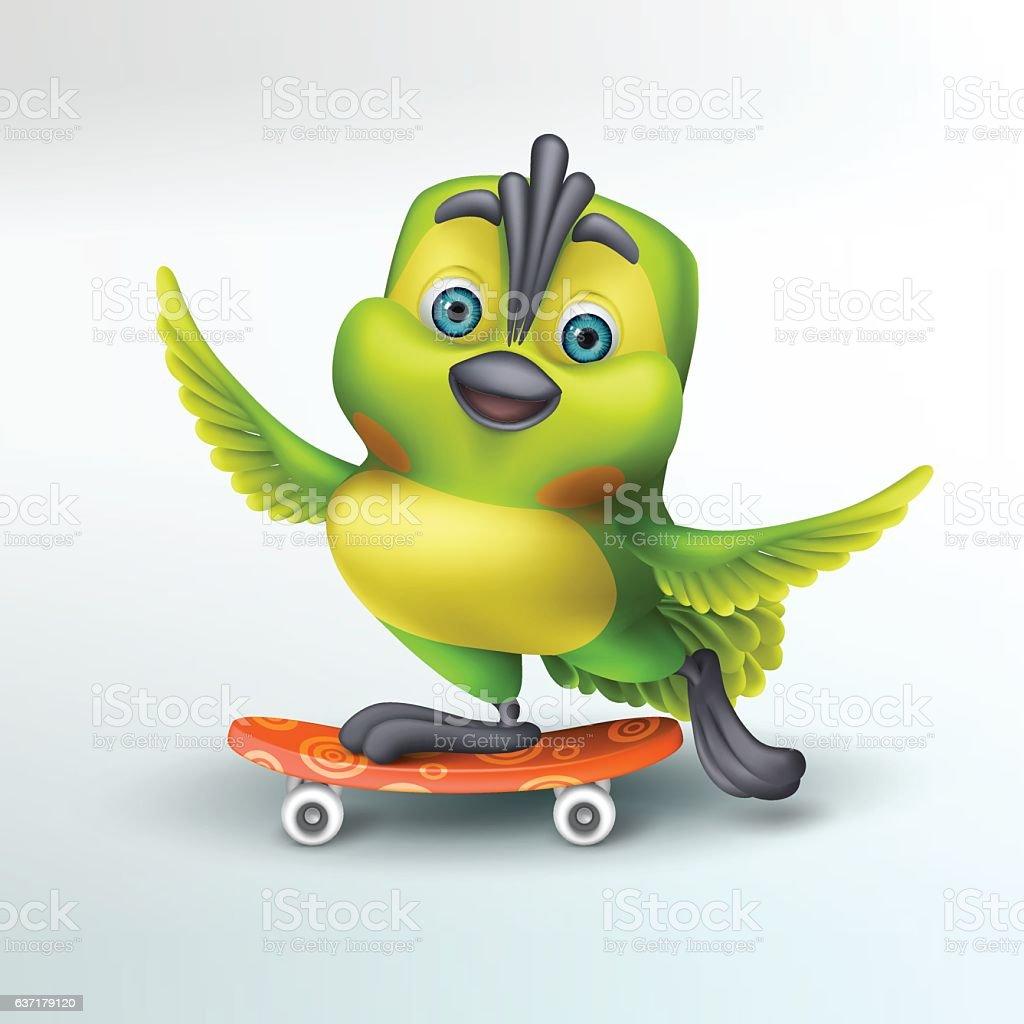 The Skateboarding Parrot