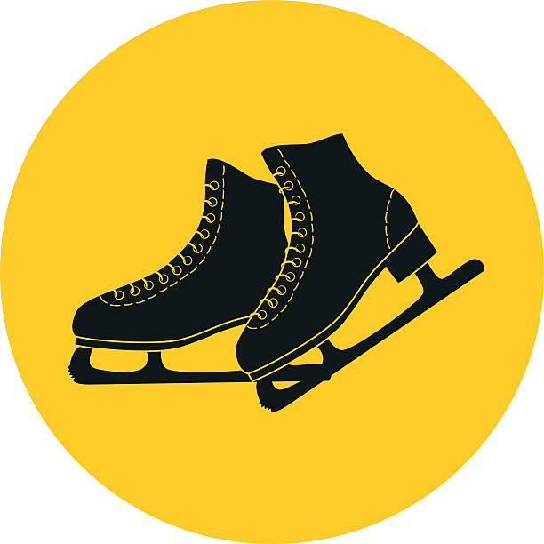 The skates icon on the yellow background. The skates icon on the yellow background. Figure skates symbol. Flat Vector illustration. figure skating stock illustrations