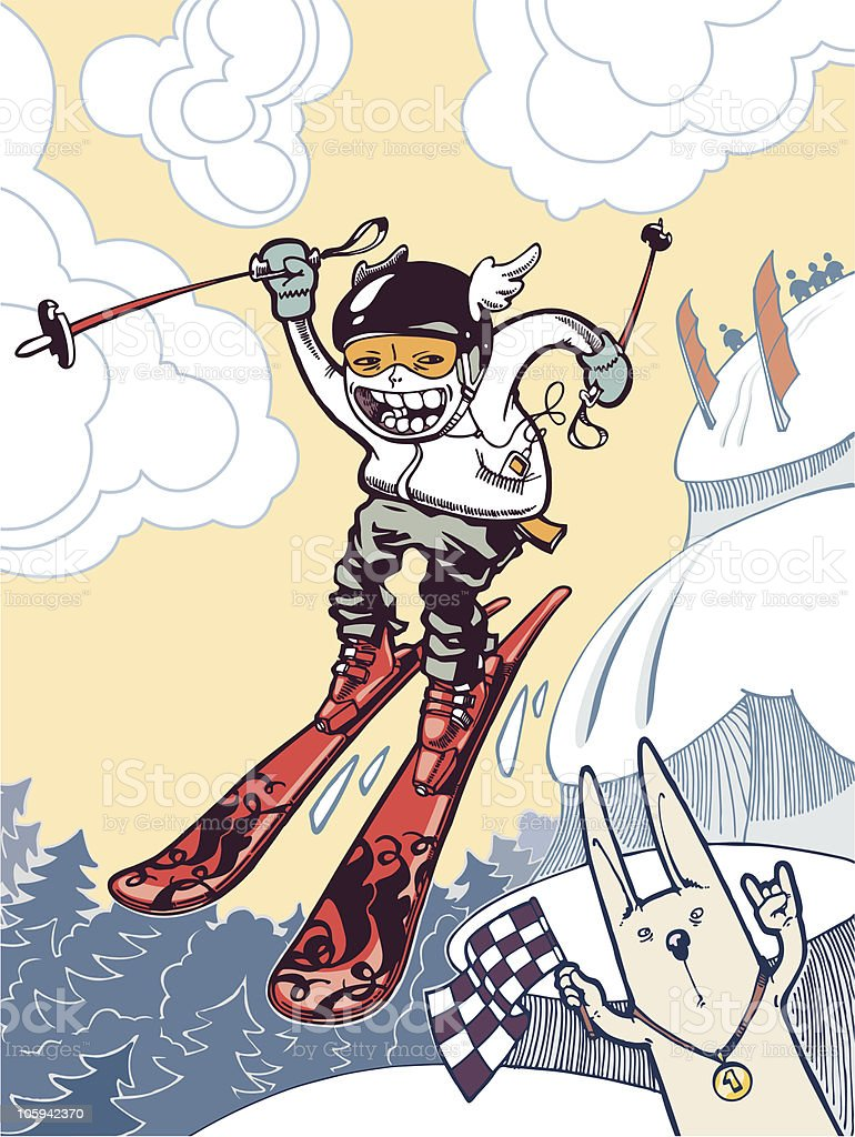 The ski freeride vector art illustration