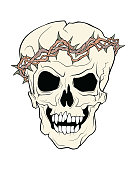 The skull of a grinning vampire in thorns wreath.