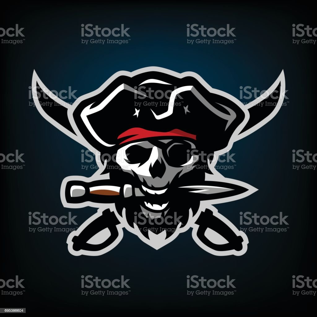 The skull of a pirate, with a dagger in his teeth. vector art illustration
