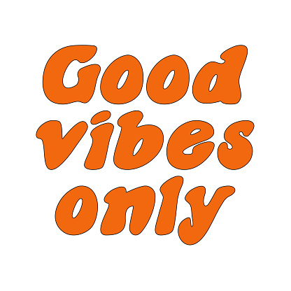 The slogan of the 70s is good vibes only. Retro lettering. Print for a T-shirt. Vector illustration isolated on a white background