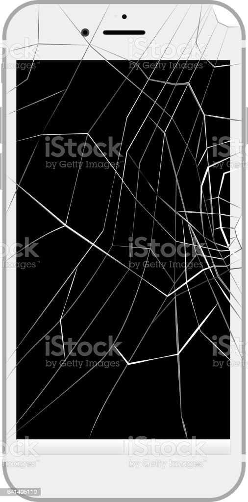The smart phone by which a screen could be divided vector art illustration