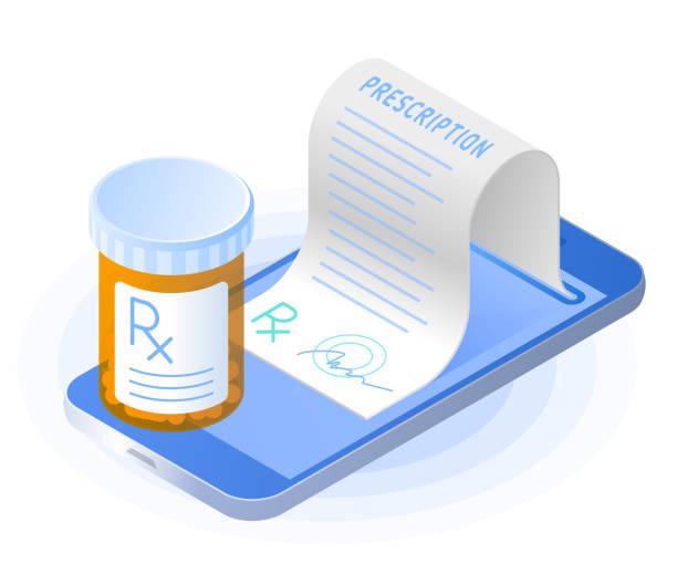 The smartphone, rx prescription from the screen, pill bottle. vector art illustration
