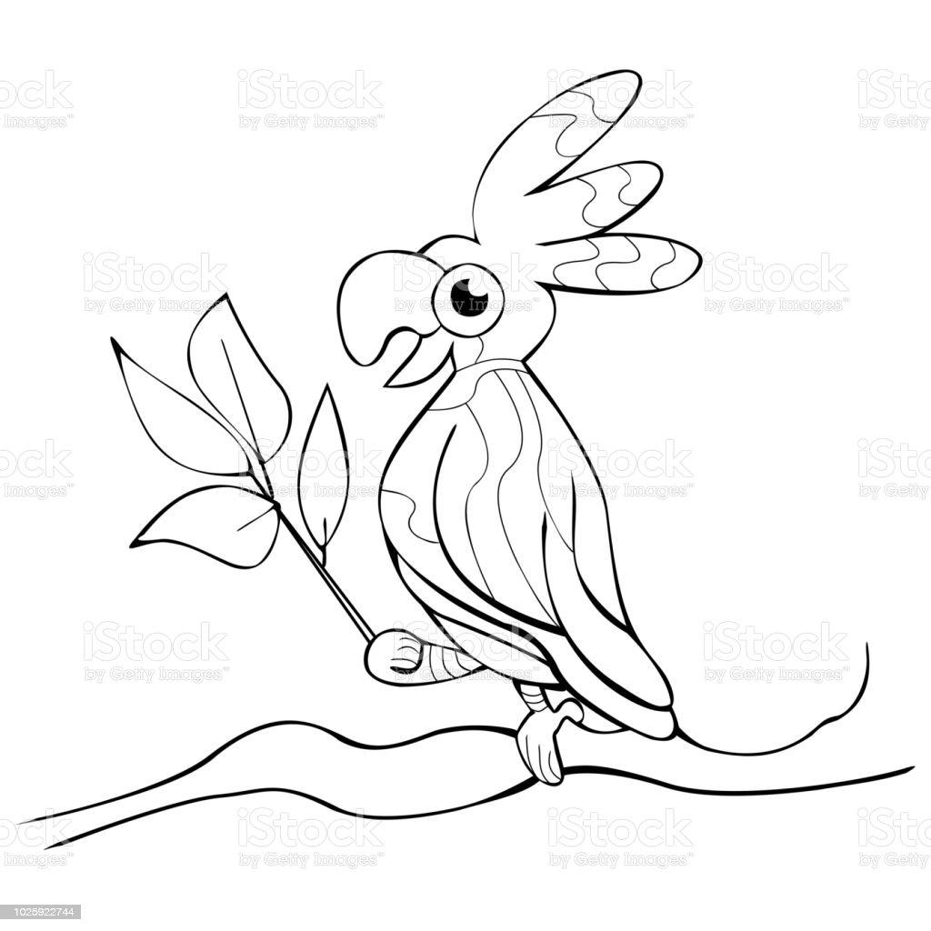 Gulumseyen Papagan Dali Ile Agac Boyama Kitabi Vektor Yapraklar