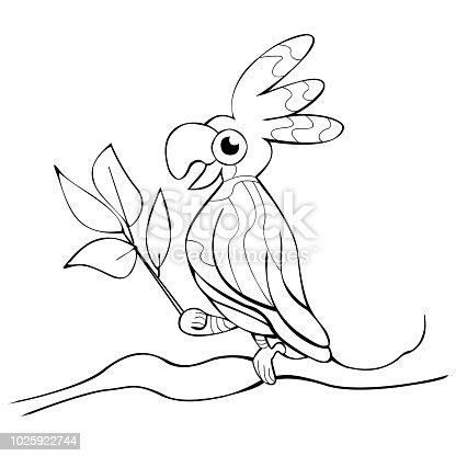Gülümseyen Papağan Dalı Ile Ağaç Boyama Kitabı Vektör Yapraklar