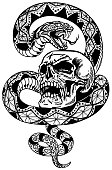 snake coiled round the human skull. Angry dangerous serpent. Black and white Tattoo or t-shirt design style vector illustration