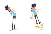 Cartoon style illustration of a man splashing in sequence of two frames.