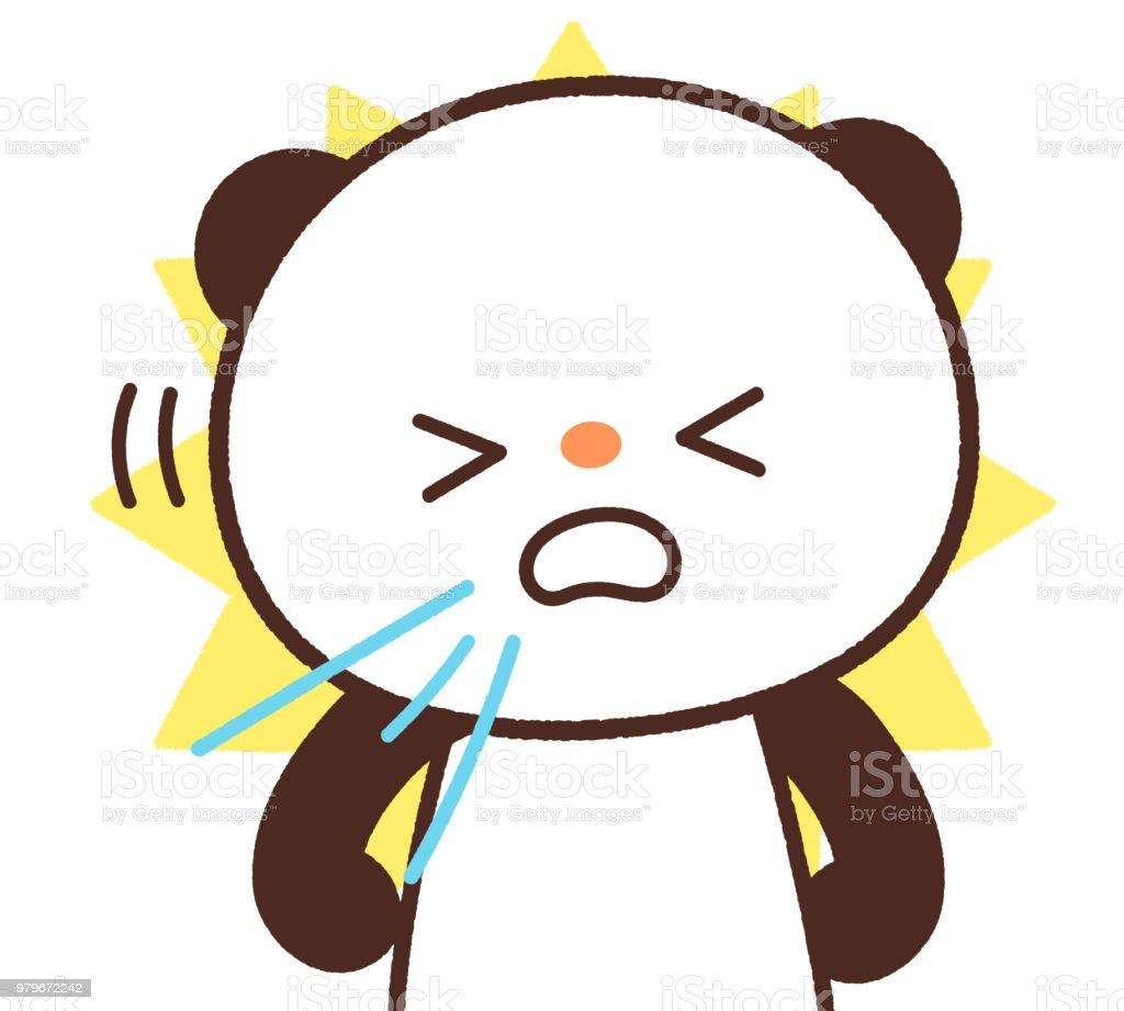 The sneezing panda vector art illustration