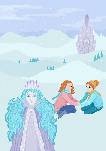The Snow Queen with young kids. Vector illustration concept for book cover.