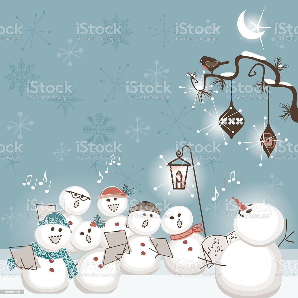 The Snowman choir vector art illustration