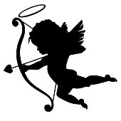 The soaring silhouette of a Little Cupid with wings bow and arrow