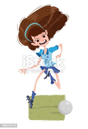 The Soccers Girl Stock Vector Art & More Images of Adolescence 965045144