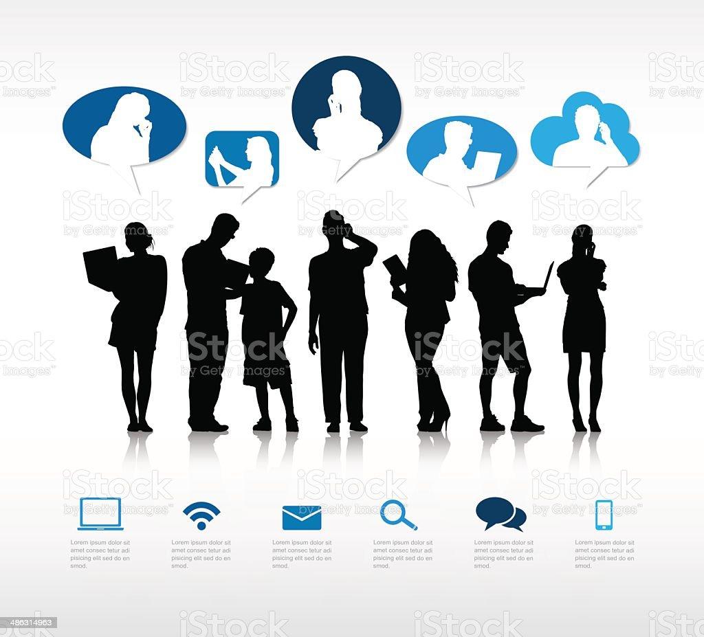 The Social Communication vector art illustration