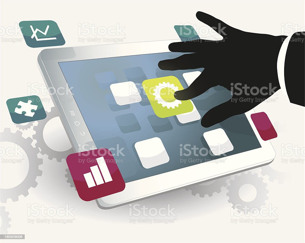 The Solution on a Tablet royalty-free stock vector art
