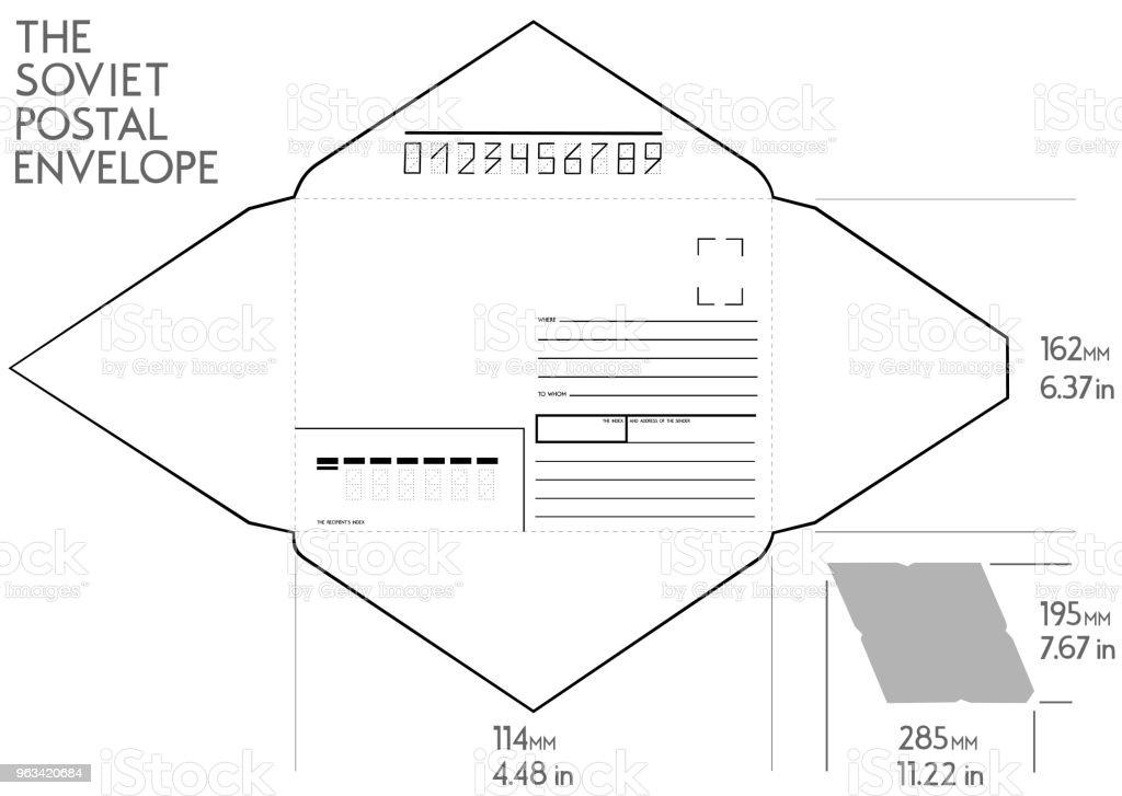 De sovjetiska post-kuvert mått i tum. - Royaltyfri Finans och ekonomi vektorgrafik