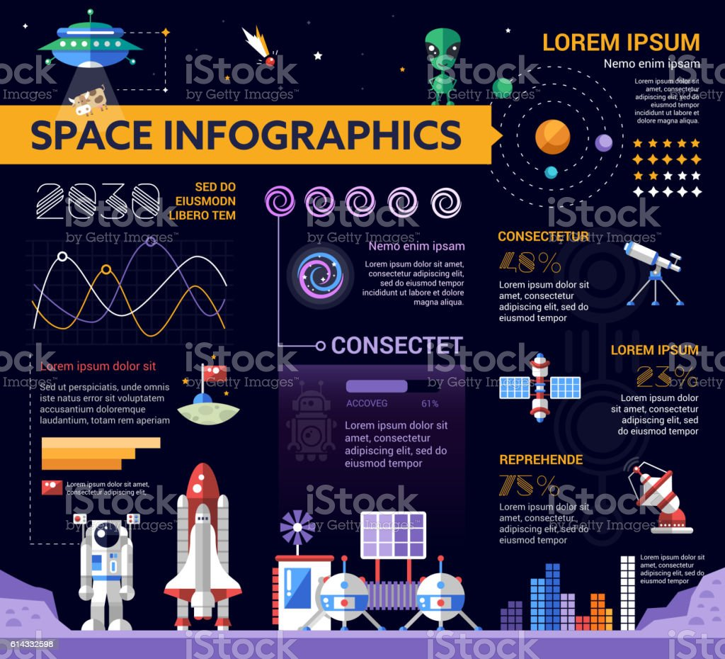 The Space - poster, brochure cover template vector art illustration