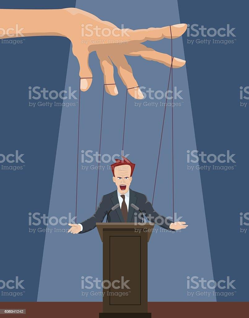 The speaker as a marionette. vector art illustration