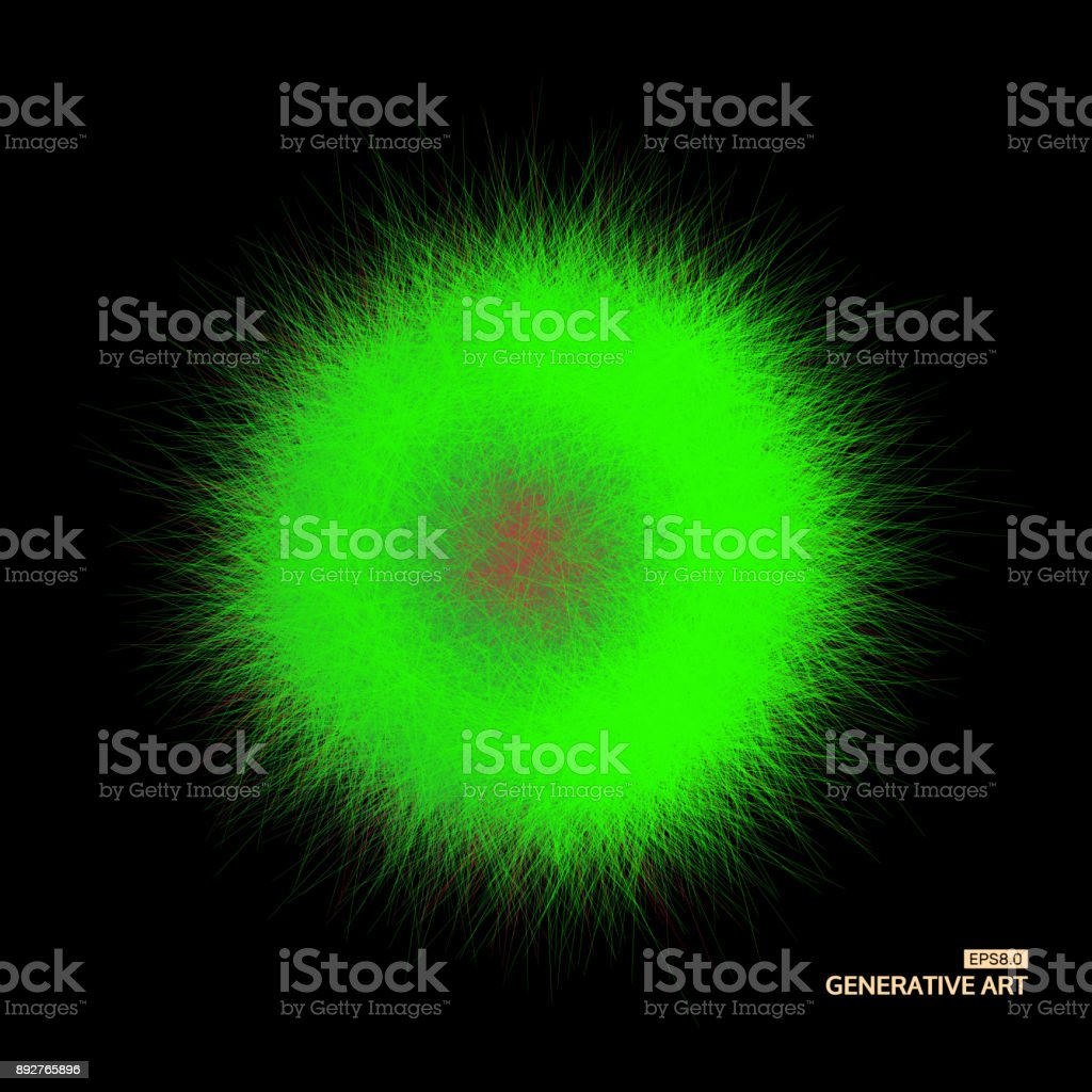 The sphere consisting of chaotic lines. Vector realistic fluffy element. vector art illustration