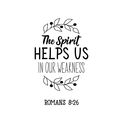 The spirit helps us in our weakness. Bible lettering. Calligraphy vector. Ink illustration.