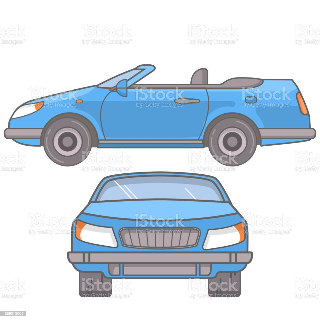 The Sports Car A Coupe Cabriolet With An Open Roof In Flat Style A