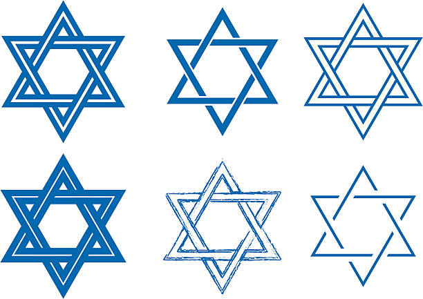 The Star of David, six detailed vector designs The Star of David, six different interlocked vector designs. star of david stock illustrations