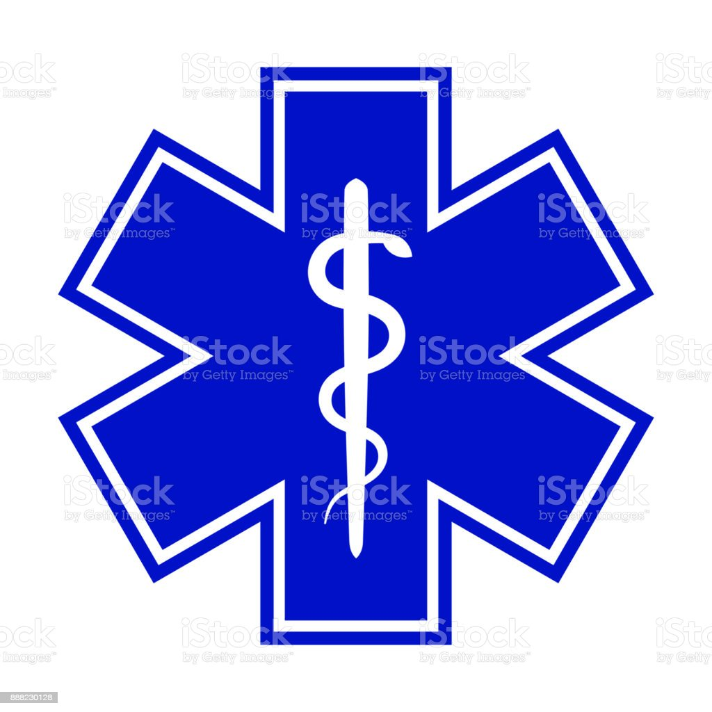 The Star of Life (with the staff of Asclepius). Modern symbol of The Emergency medical services, ambulance and paramedic services. vector art illustration