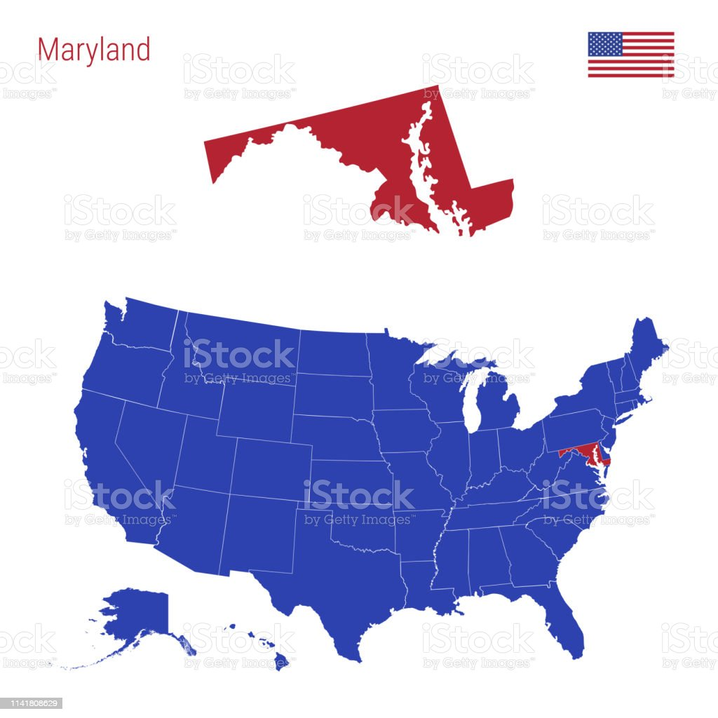 The State Of Maryland Is Highlighted In Red Vector Map Of The United ...