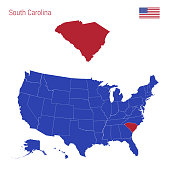 The State of South Carolina is Highlighted in Red. Vector Map of the United States Divided into Separate States.
