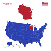 The State of Wisconsin is Highlighted in Red. Vector Map of the United States Divided into Separate States.