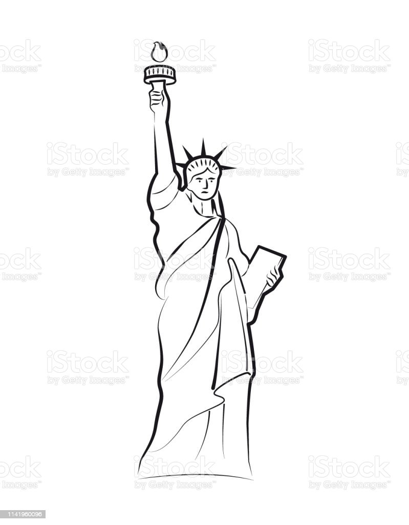 The Statue Of Liberty Minimalist Drawing Doodle Freehand Icon Sketch Or Illustration Simple One Line Vector Drawing White Background Black And White Stock Illustration Download Image Now Istock