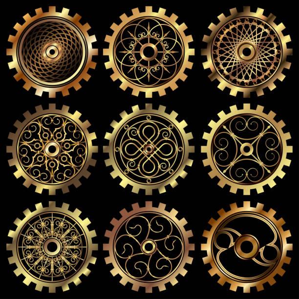 die steampunk-zahnräder - steampunk stock-grafiken, -clipart, -cartoons und -symbole