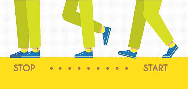 the step of walking. - ludzka noga stock illustrations