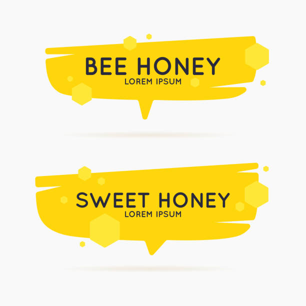 The stickers on the products of the apiary. Vector poster for bee honey The template for the products of the apiary. Stylish vector poster for bee honey. bee borders stock illustrations