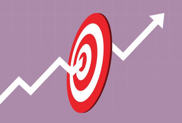 ilustraciones, imágenes clip art, dibujos animados e iconos de stock de el gráfico del mercado de valores alcanzó el objetivo - corredor de bolsa