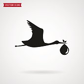 The stork brings the baby. Vector icon.