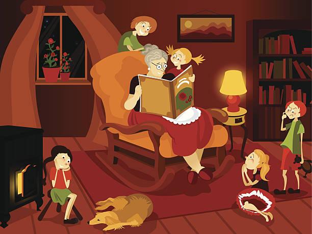 ilustraciones, imágenes clip art, dibujos animados e iconos de stock de el narrador de - nieta