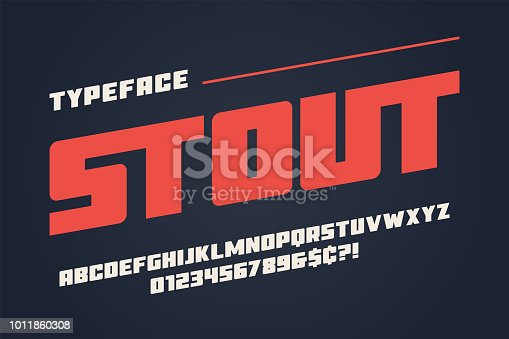 The Stout heavy display font design, alphabet, typeface, letters and numbers, typography