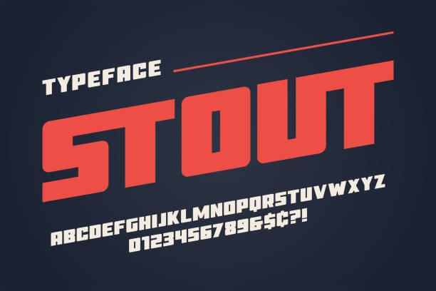 ilustrações de stock, clip art, desenhos animados e ícones de the stout heavy display font design, alphabet, typeface, letters - cor viva