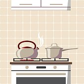 The stove with boiling kettle in the kitchen with Good morning title. Hand drawn typography lettering poster. Modern style flat cartoon style vector illustration.