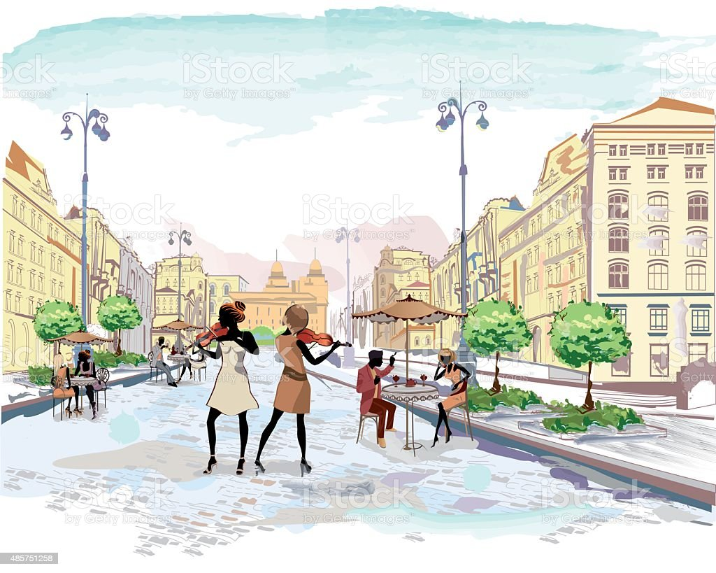 The streets with people in the old city vector art illustration