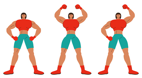 The strong female boxer with three postures